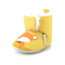 Delebao Yellow Color Fox Design Baby Boots Convenient Hook & Loop Pure Cotton Baby Shoes