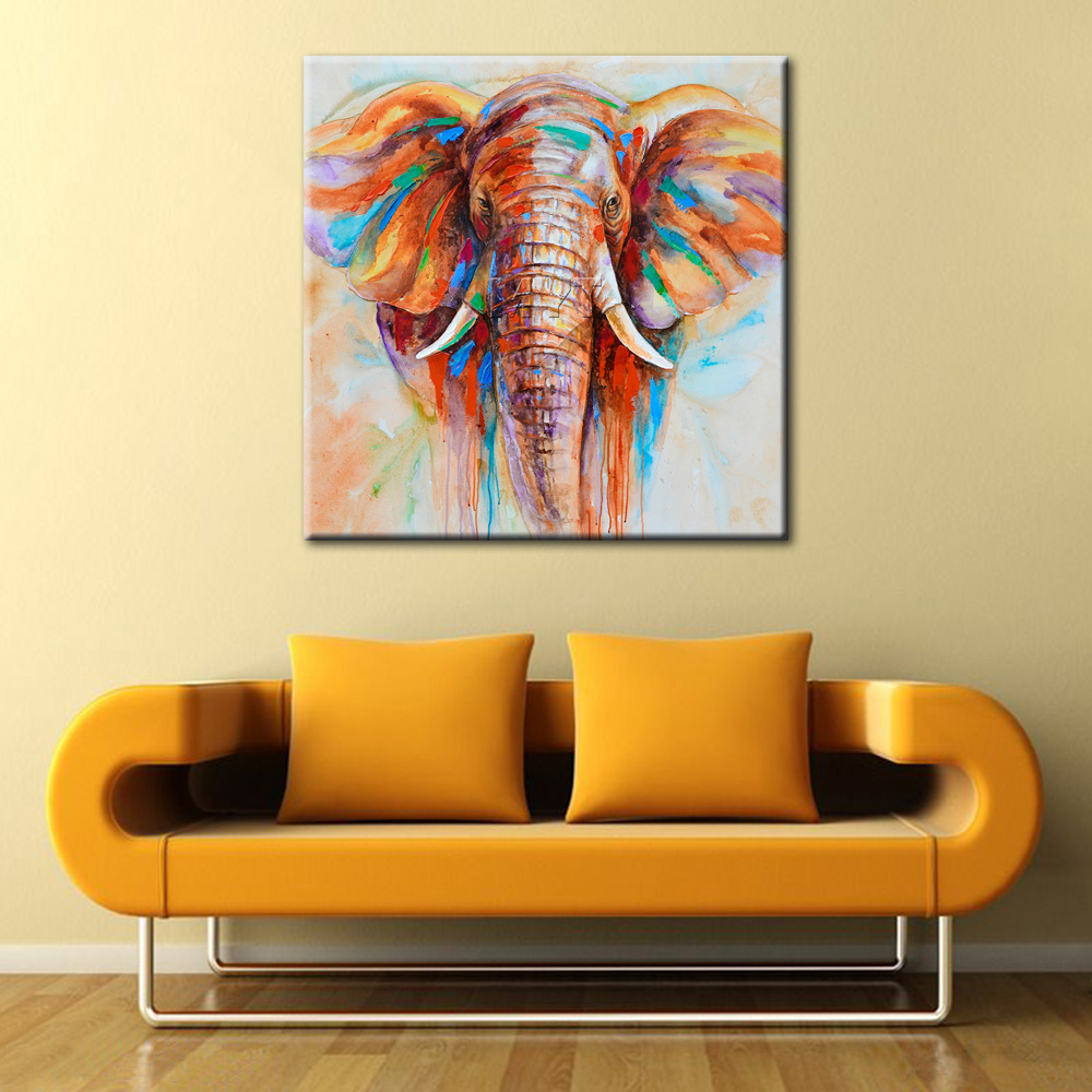 Abstract African Elephant Oil Painting Large Animal Wall Picture ...