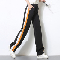 2018 mujeres pantalones largos casual correa lateral Amarillo Blanco rayas costura Pantalón ancho Pantalones negro casual suelta elástico cintura Pantalones