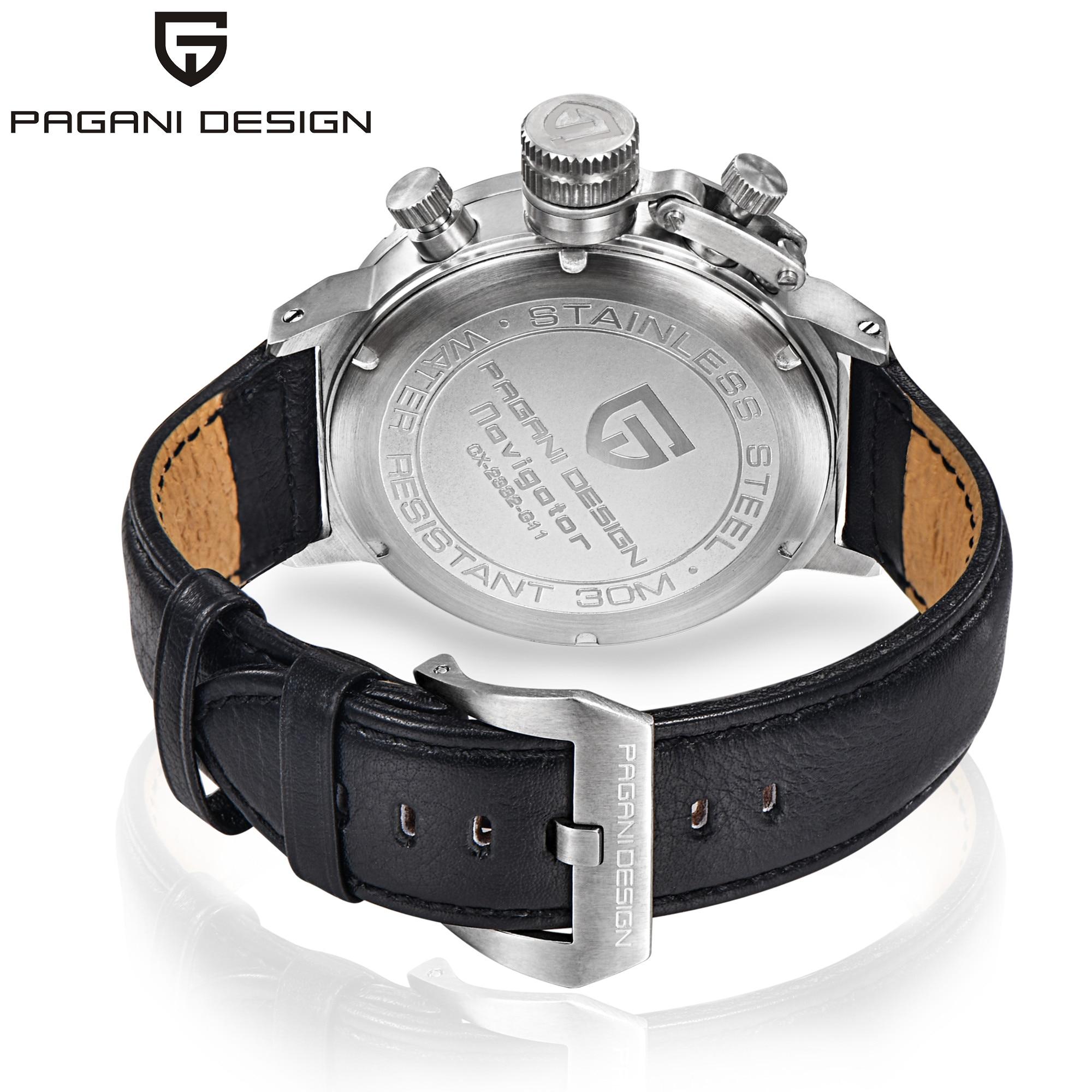 2019 PAGANI, relojes deportivos de diseño a la moda para hombre, reloj multifunción de buceo con cronógrafo de cuarzo, reloj de hombre, reloj de cuero - 6