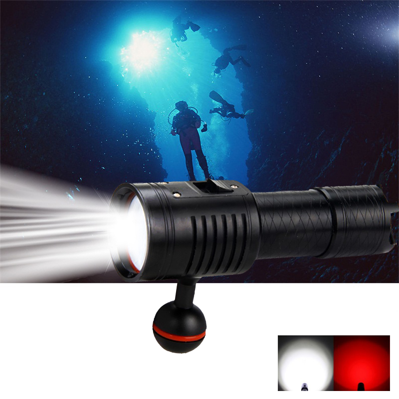 6 x White+Red LED Diving Flashlight Torch Underwater 100M Video Camera Photography Lamp digital milc camera style white led flashlight keychain red silver black 3 x lr41