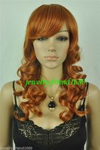 Wholesale heat resistant LY free shipping New wig Cosplay Long Dark Orange Curly wig Heat Rsistant
