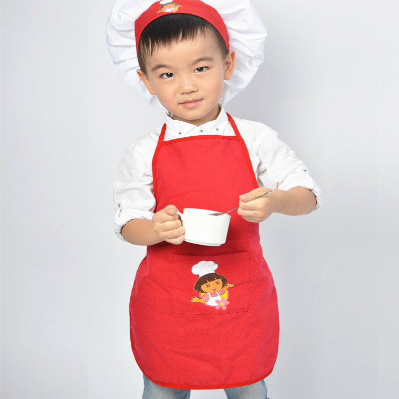 red dora kids apron set child cooking painting aprons and chef hats baby apron avental de. Black Bedroom Furniture Sets. Home Design Ideas