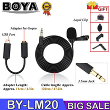 BOYA BY LM20 BY-LM20 Pro 3.5mm Clip Sports External Microphone Mic Mini USB For GoPro Hero 4 3+ 2 Video