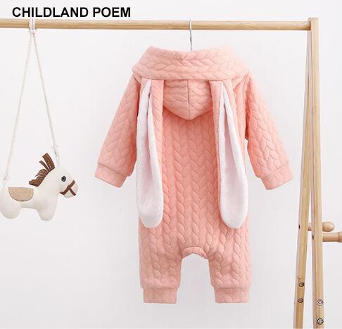 2017 do bebê de Inverno meninos roupas de bebê Recém-nascido Animal Coelho lã grossa bebê Macacão Crianças Macacão de Bebê Meninas Outerwear Quente Com Capuz