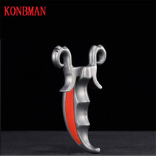 KONBMAN Slingshot Hunting Catapult Stainless steel Stable Outdoor Shooting Powerful Handheld Bow with Rubber band New 2018 цена и фото