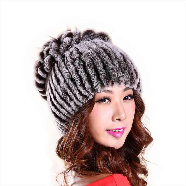 New Women Winter Rex Rabbit Fur Hat Real Rabbit+Fox Fur Beanies fox fur flower top free size casual women's hat