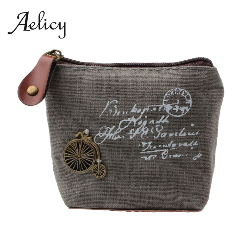 Aelicy Purse Wallet Card-Pouch Coin-Holder Canvas Change-Coin Little-Key Retro Small
