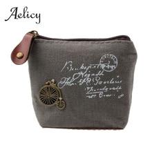 Aelicy, Дамский холщовый классический ретро маленький кошелек для монет, маленький чехол для ключей, карт, сумка для денег, для девочек, мини короткий кошелек для монет