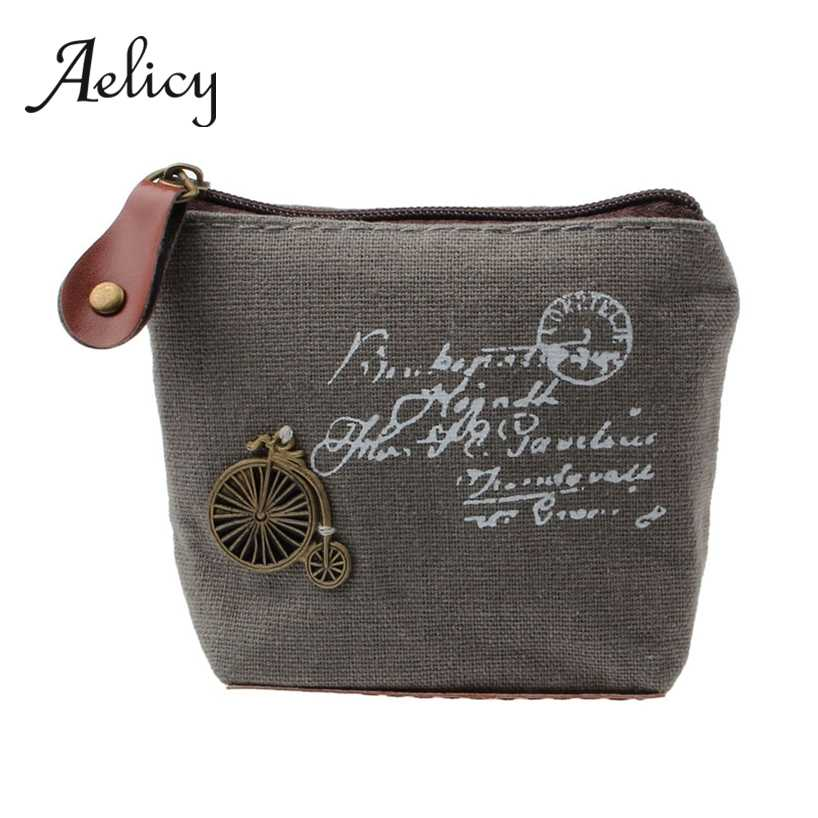 Aelicy Ladies Canvas Classic Retro Small Change Coin Purse Little Key Card Pouch Money Bag Girls Mini Short Coin Holder Wallet