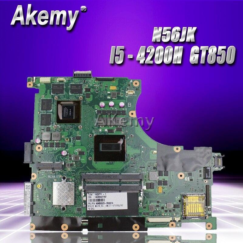 Akemy N56JK Motherboard i5 8 Memory 2 RAM Slots For ASUS N56JK G56JK Laptop motherboard N56JK Mainboard N56JK Motherboard