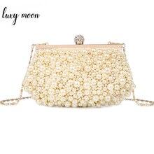 LUXY ירח פניני ערב שקיות אופנה אלגנטי חרוזים יום מצמד יוקרה מלא שמלת נשים ארנק ותיקי מיני טלפון בעל