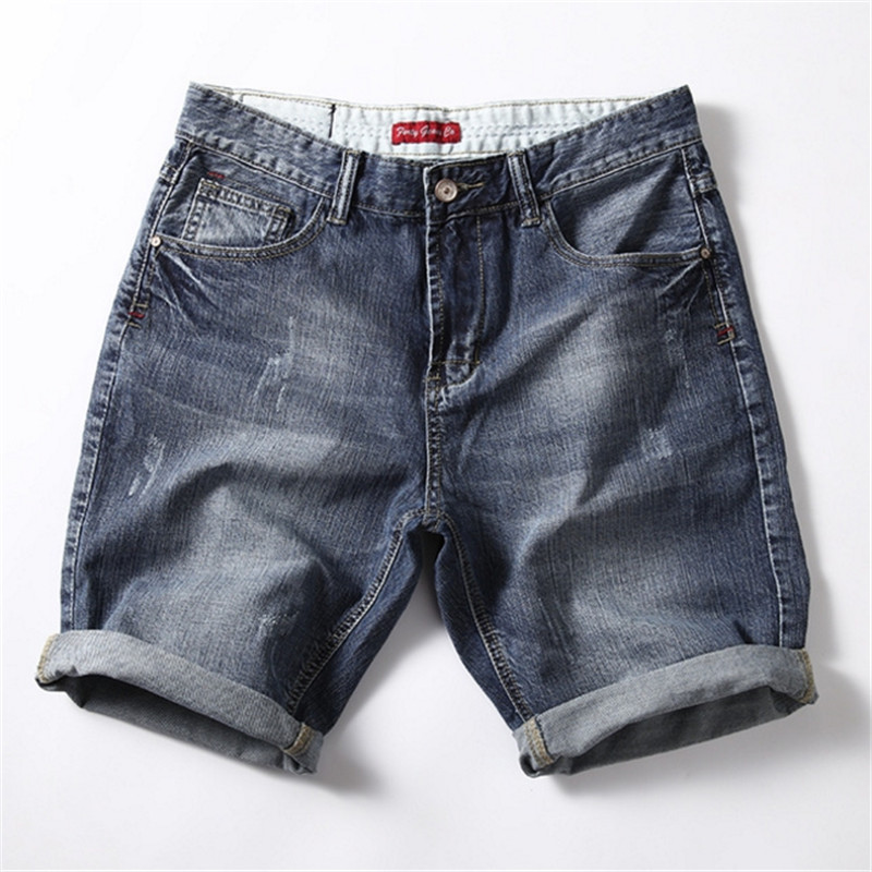 Male Summer New Style Thin Loose Straight Jeans Men's Cotton Shorts Simple Blue Fashion Casual Denim Shorts Large Size Shorts