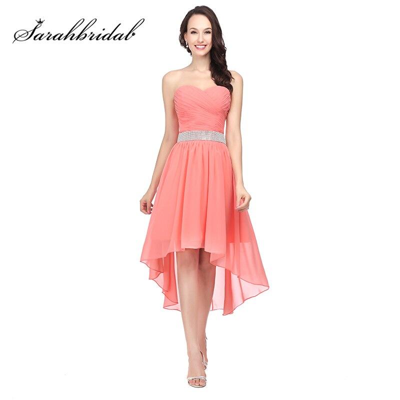 Nouveauté robes de demoiselle d'honneur haute-basse pas cher avec des ceintures perlées en mousseline de soie chérie à lacets dos courtes robes de bal OS400