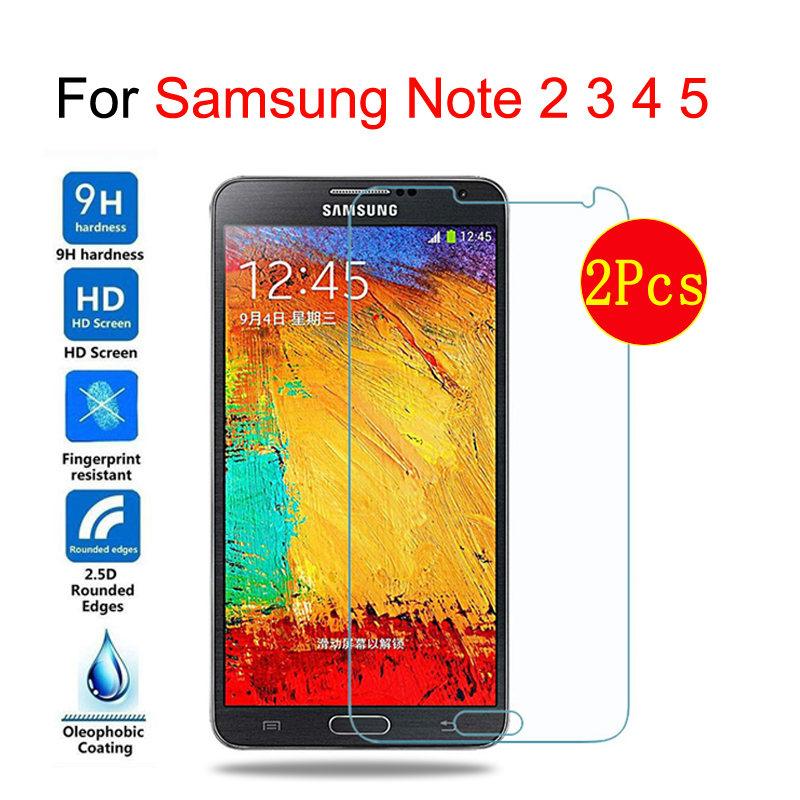 2 Pcs Pack Tempered Glass For Samsung Galaxy Note2 3 4 5 Screen Protector On Samsung N7100 N900 N910 N920 Protective Films Case Sale Price
