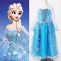 Хэллоуин Принцесса дети Девушки Королева Эльза Косплей Fancy Dress Костюмы для Детей Мультфильм Костюмы