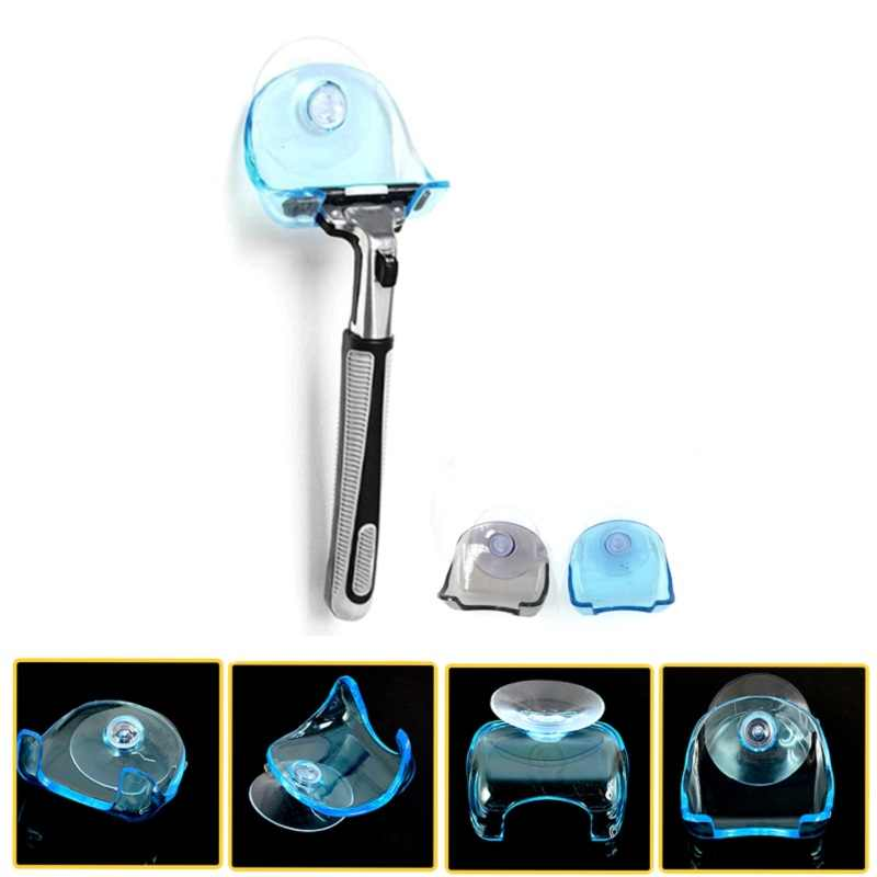 1 Piece Clear Blue Plastic Super Suction Cup Razor Rack Bathroom Accessories Razor Holder Suction Cup Shaver Home Storage Rack