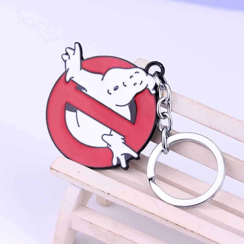 คุณภาพสูงภาพยนตร์ Ghostbusters โลโก้รอบพวงกุญแจเรืองแสงเข็มขัดหัวเข็มขัดสีแดงพวงกุญแจโลหะพวงกุญแจแหวนของที่ระลึก