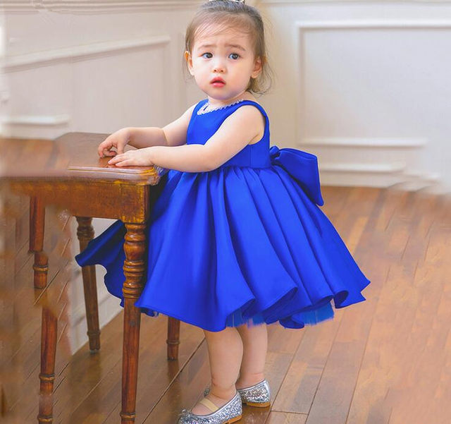 Online Shop Top Quality Blue Satin Baby Ball Gown 1 Year Birthday ...