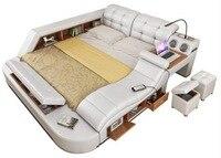 Натуральная кожаный каркас кровати мягкие кровати массажер хранения безопасный динамик светодио дный Свет Спальня Кама muebles де dormitorio/camas кв