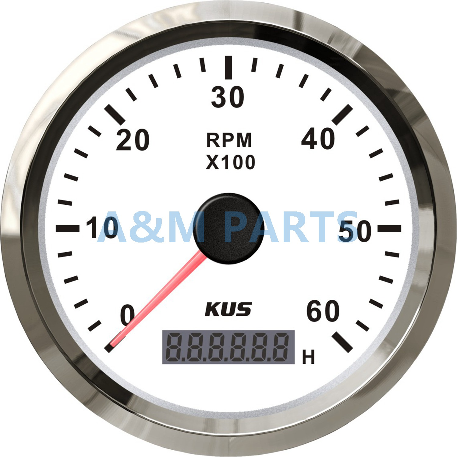 KUS Marine Outboard Tachometer With LED Hourmeter Boat Truck Car RV Waterproof RPM Meter 6000 RPM 85mm Speed Ration 1-10 kus marine car truck tachometer boat motor digital hourmeter 12 24v 0 4000 rpm