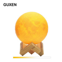 Guxen 3D Printing Moon LED Lamp Night Light Touch Dimmable 2 Modes Brightness With USB Charging