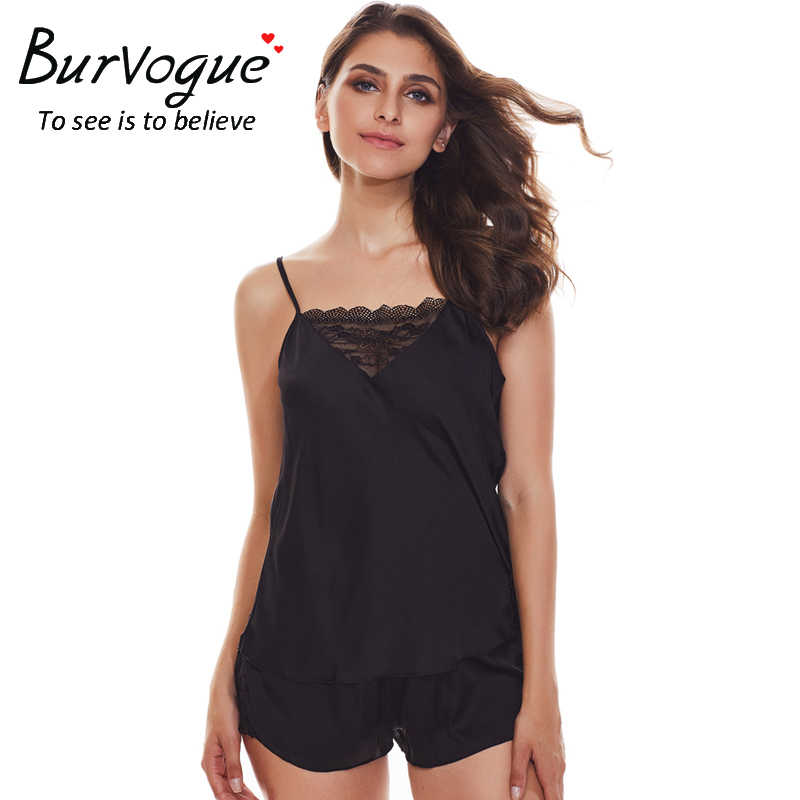 80113f7a8b Burvogue Sexy Silk Satin Pajama Set Lace Pyjama Set Sleeveless Pajamas  V-neck Sleepwear Summer