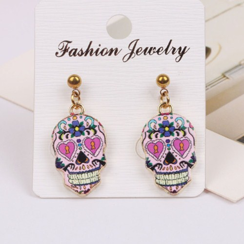Enamel black white Retro whimsical sugar skull Punk style rhinestone skull  head earrings for women Halloween party jewelry-in Drop Earrings from  Jewelry ... b67fdd7953ba
