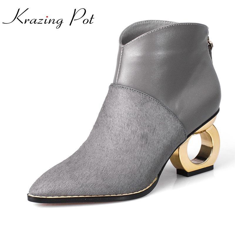 fashion winter brand shoes metal strange style horse hair pointed toe med heel genuine leatherrunway style