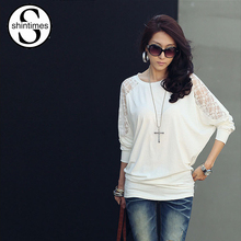 Bat Sleeve Blouse 2015 New Loose Tops Autumn And Winter Dress Fashion Lace T Shirt Long Women Clothing