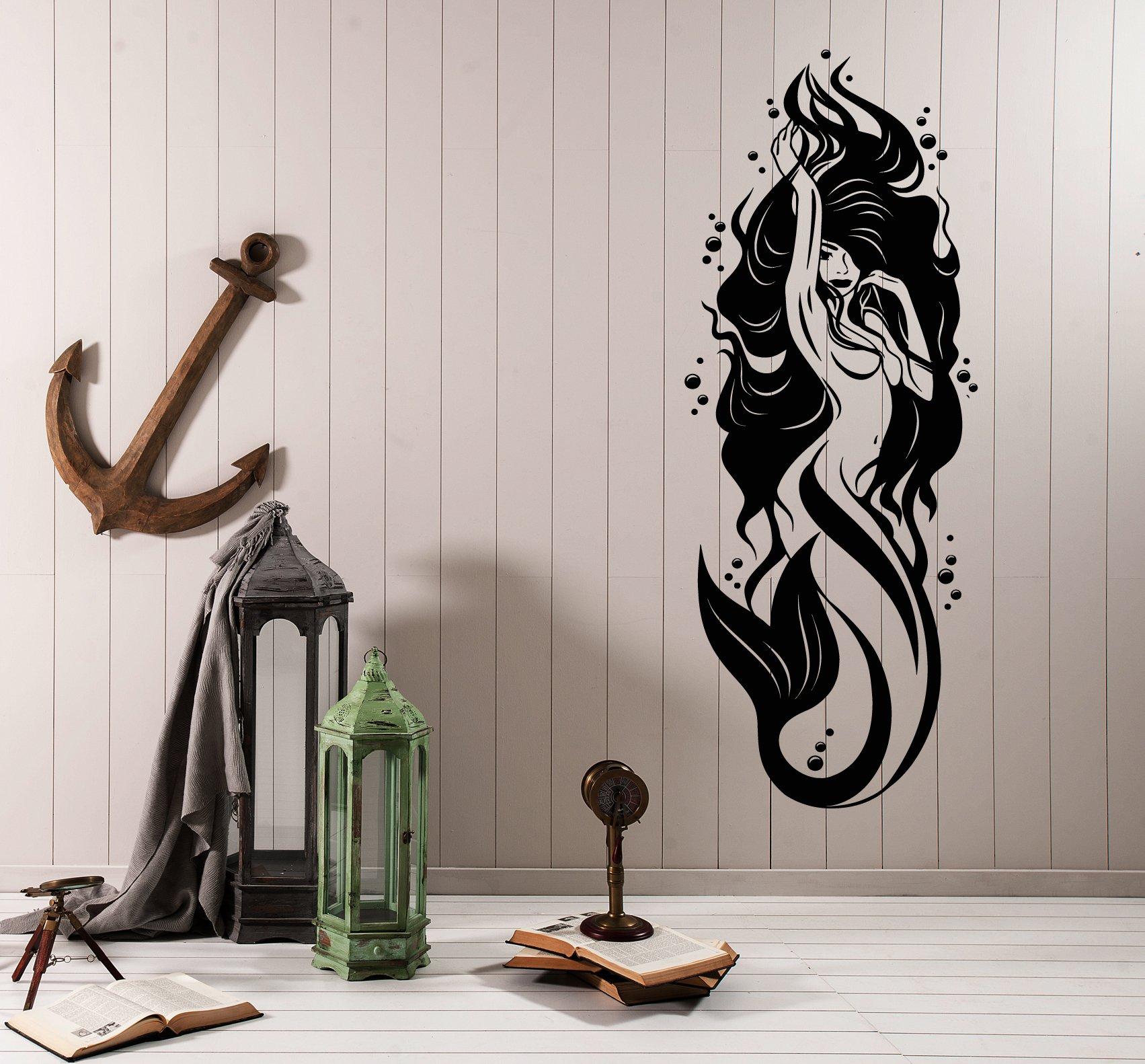 Vinyl wall applique sexy nude mermaid girl bathroom decoration, hotel glass sticker YS26