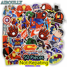 50 PCS Super Hero Cartoon Sticker for Laptop Luggage Bags Bike Phone Car Styling Cool Stickers Toys Doodle PVC Creative Decals