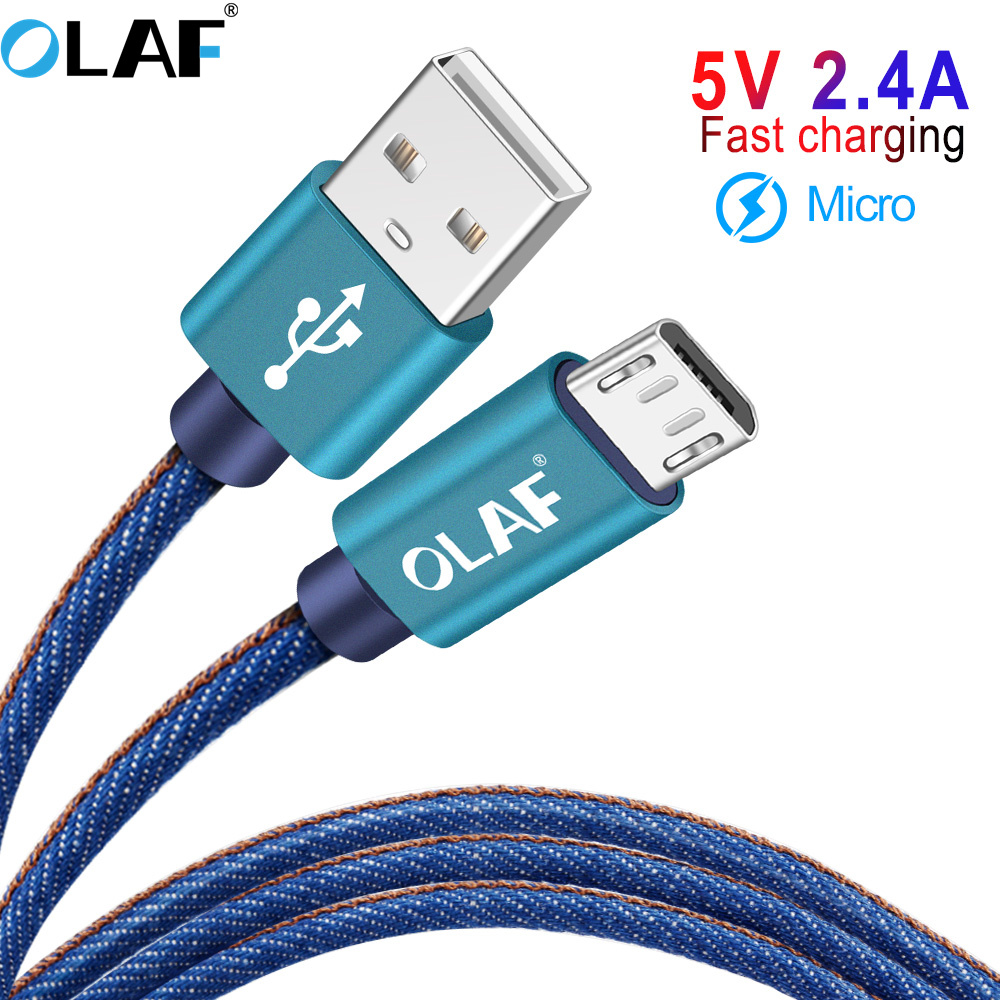 OLAF 2M Denim Micro USB Charging Cable for Xiaomi 2.4A Fast Charger Mobile Phone USB Cable for Samsung Huawei Android USB Cord
