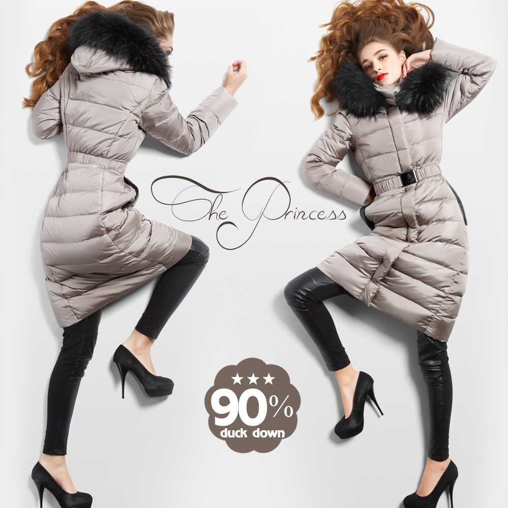2016 winter jacket women down jackets high quality raccoon fur Hooded long design slim Womens down coat down Outerwear Parka