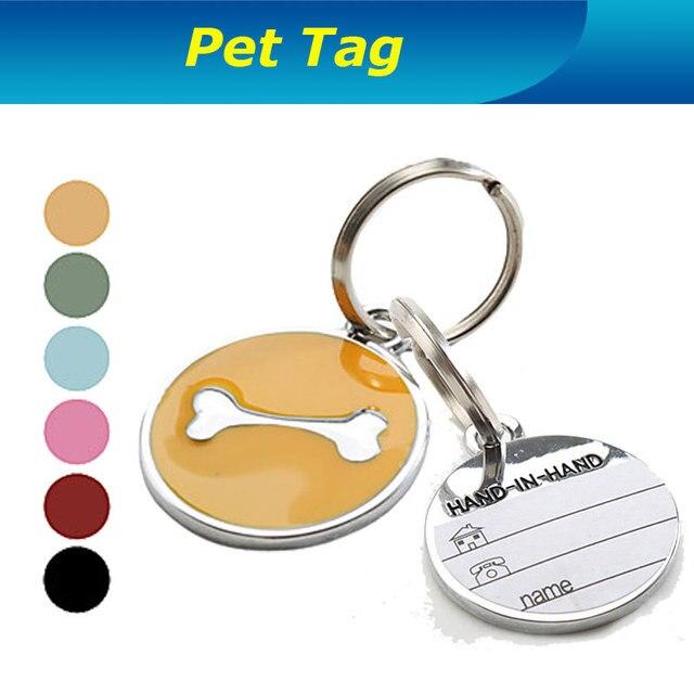 Acero inoxidable estilo del hueso de perro nombre del perro mascotas collar de perro dni para fácil encontrar mascota o llavero envío gratis