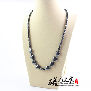 Hematite love heart shape magnetic necklace Beaded Necklace Christmas gift For Women MN1001