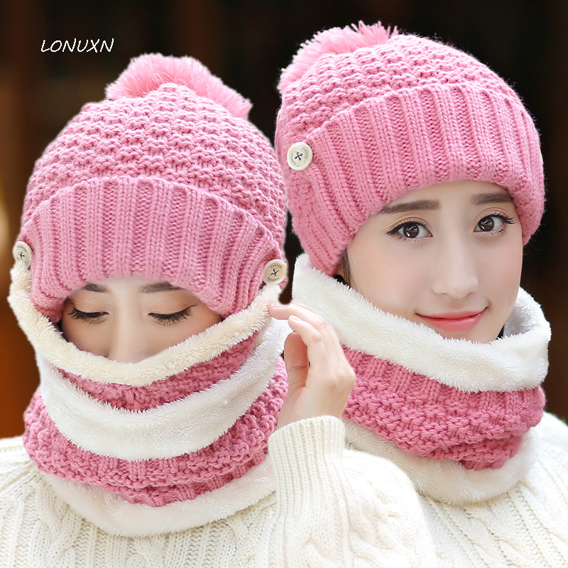 10 Syles 3 Pieces/lot High Quality Hat Winter Cotton Knitted Warm Thick Girls Outdoor Winter Scarf, Hat & Masks Sets Wool Cap