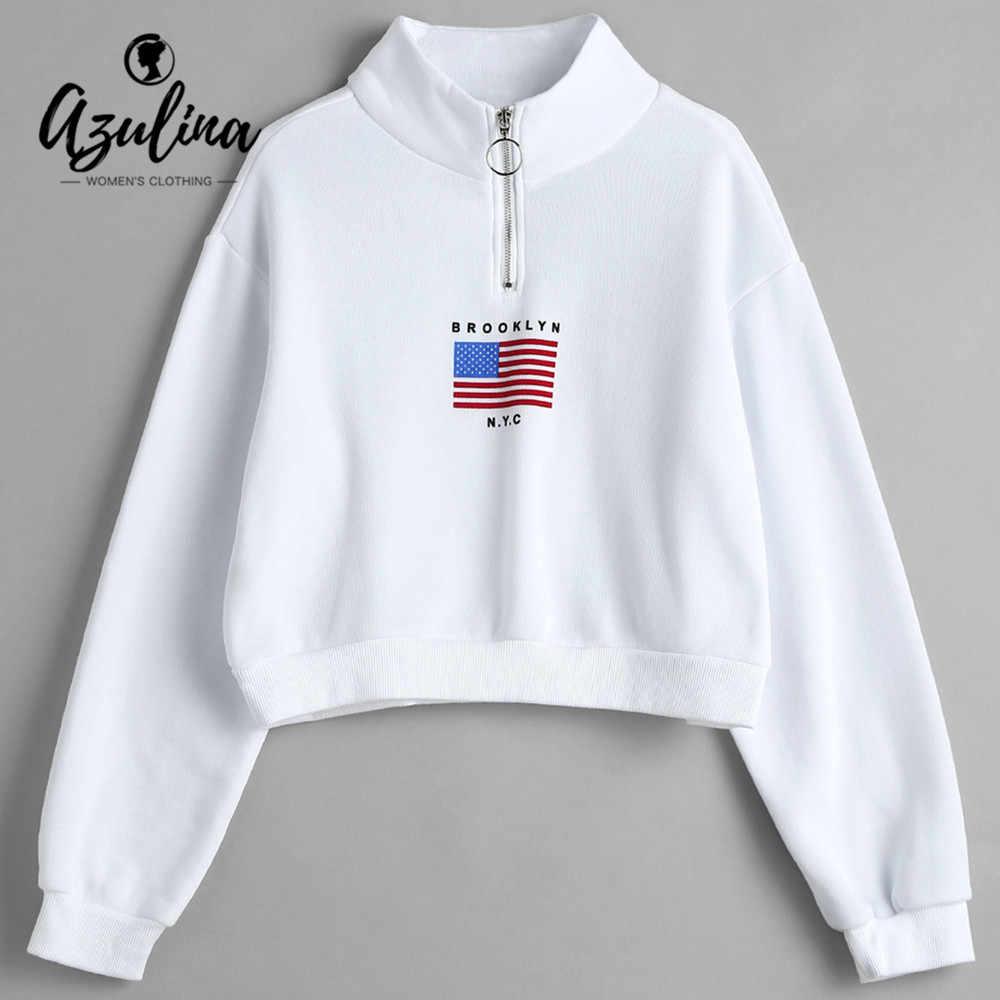AZULINA American Flag Half Zip Sweatshirt Women Letter Hoodies Autumn Ladies  Mock Neck Long Sleeves Sweatshirt fc00af75b