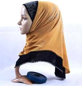 Image 4 - Clearance  Muslim Hijab Ethnic Style Female Scarf Islamic Headscarf (Forehead part beading pattern random sequin or crystal)