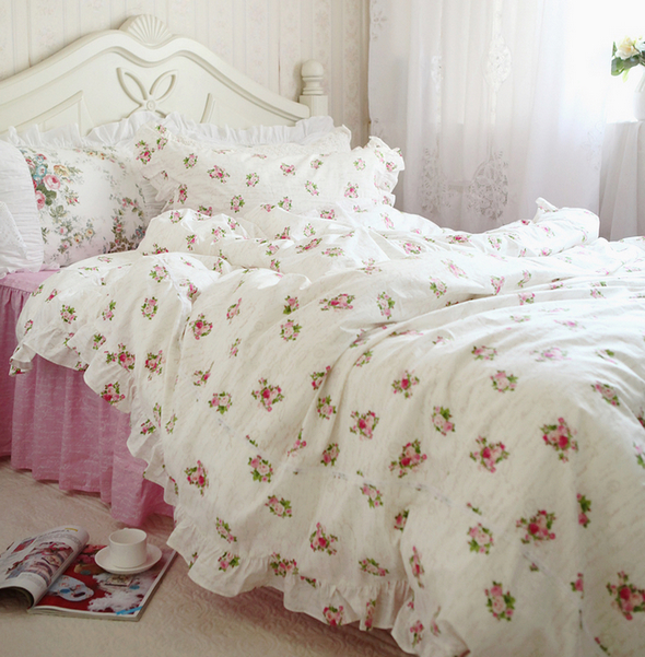 ᓂrustic Ruffle Flower Bedding Set ⊹ Teenage Teenage Girl