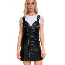 Fashion leather dress Women Soft PU Faux Leather Dress 2019 new strap V-neck Sexy Slim Short belt Mini Dress vestidos trendy pu leather square neck overall dress for women