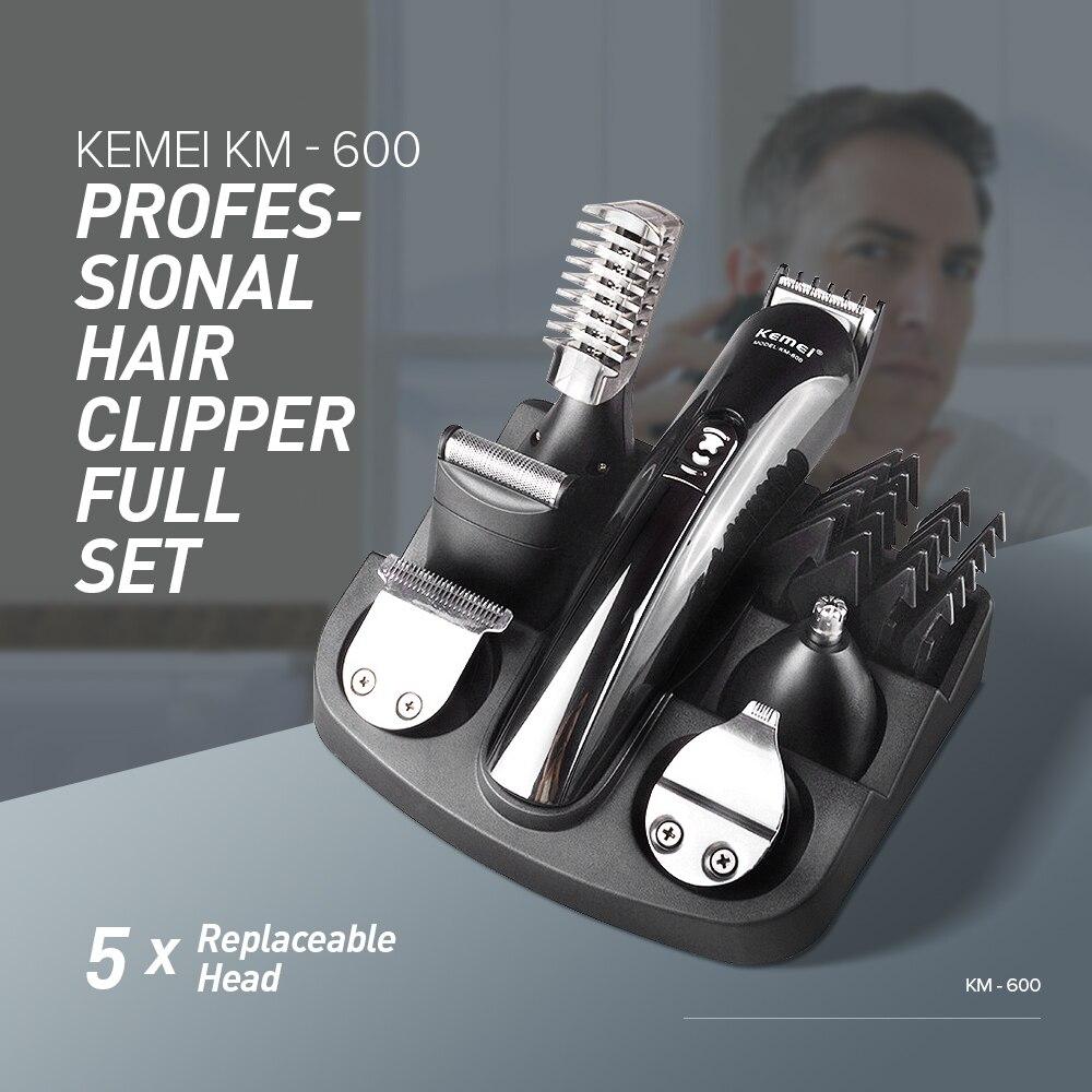 Kemei KM-600 Professionale Dei Capelli Trimmer 6 In 1 Tagliatore di Capelli Rasoio Set Rasoio Elettrico Barba Trimmer Taglio Dei Capelli macchina XJ