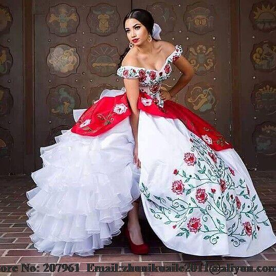 53362d212 2016 Nuevo Blanco y Rojo Vestidos de Quinceañera Pageant Girls Vestidos  Formales Robe de mariage vestido durante 15 años con Bordado cariño en  Vestidos de ...