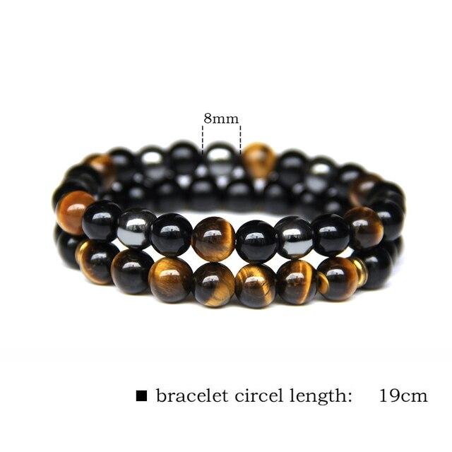 2 sztuk mężczyźni bransoletki z koralików kamień naturalny czarny onyks i tygrysie oko i hematyt bransoletki dla kobiet mężczyzn nie namagnesowany bransoletka