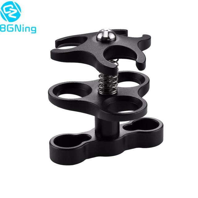 Triple Ball Clamp Diving Camera Bracket Aluminum Spring Flashlight Butterfly Clip Underwater Photography Mount Adapter Accessory