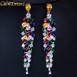 CWWZircons Multi Color Flower Shape Statement Cubic Zirconia Long Dangling Earrings Fashion Bridal Wedding Party Jewelry CZ422