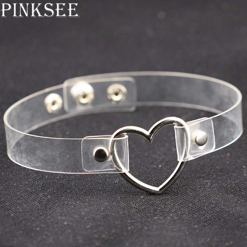 PINKSEE Punk Style Clear Transparent PU Leather Heart Circle Metal Handmade Choker Necklace Women Collar Jewelry Accessories