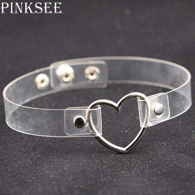 PINKSEE Punk Style Batal Transparan PU Kulit Jantung Lingkaran Logam Handmade Choker Kalung Wanita Kerah Perhiasan Aksesoris