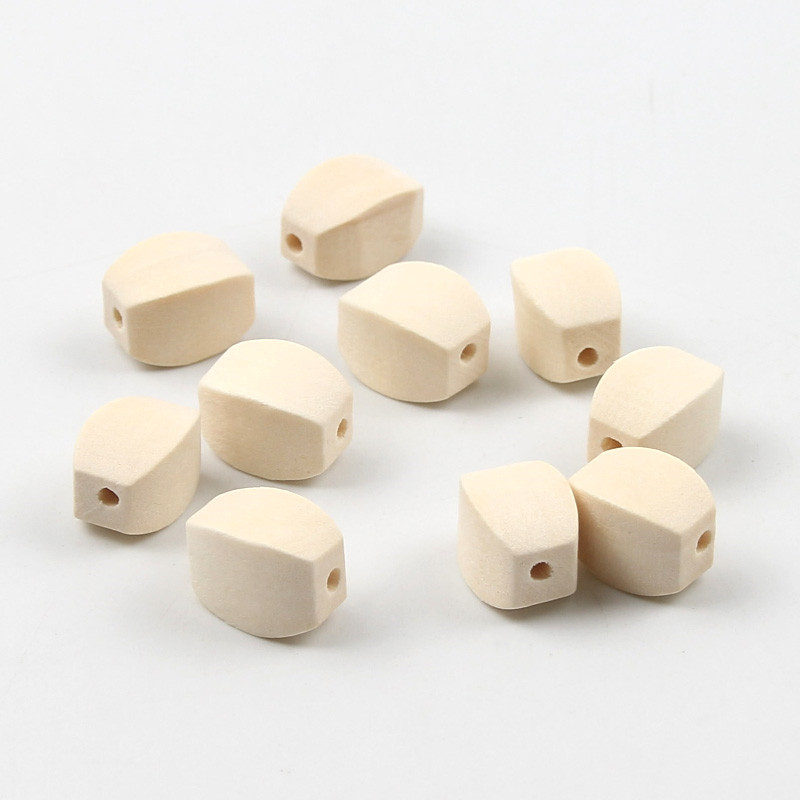 30PCS Wood Color Wooden Beads DIY Cubic Loose Beads Production Creative Handmade Jewelry Accessories 9x13mm(China)