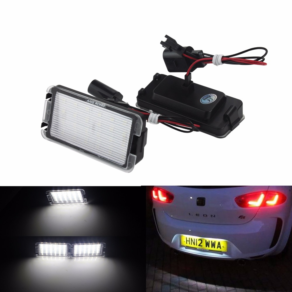 angrong 2x led license number plate light white for seat. Black Bedroom Furniture Sets. Home Design Ideas